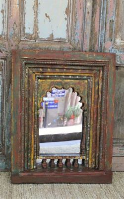 Antique Hindu Shrine Panel with Mehrab Arch made into a mirror, Karnataka